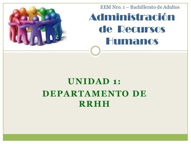 EEM Nro. 1 – Bachillerato de Adultos      Administración       de Recursos        Humanos    UNIDAD 1:DEPARTAMENTO DE     ...