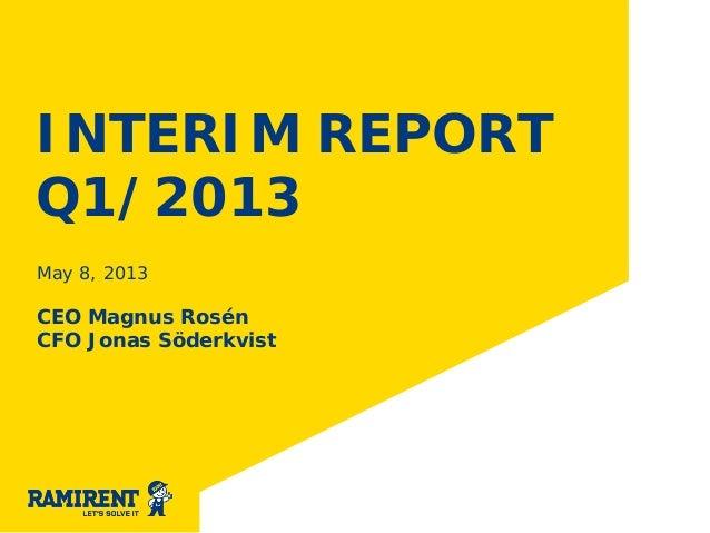 INTERIM REPORTQ1/2013May 8, 2013CEO Magnus RosénCFO Jonas Söderkvist