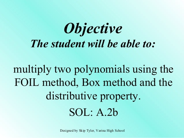 how to use the foil method in algebra