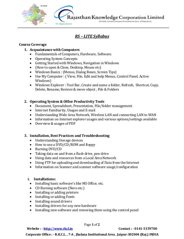RS – LITE Syllabus Course Coverage 1. Acquaintance with Computers  Fundamentals of Computers, Hardware, Software.  Opera...
