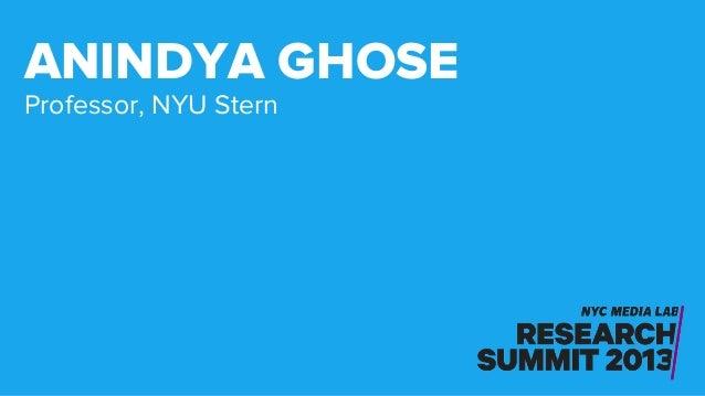 Professor, NYU Stern ANINDYA GHOSE