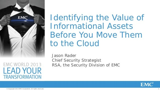 Identifying the Value of Informational Assets Before You Move Them to the Cloud Jason Rader Chief Security Strategist RSA,...
