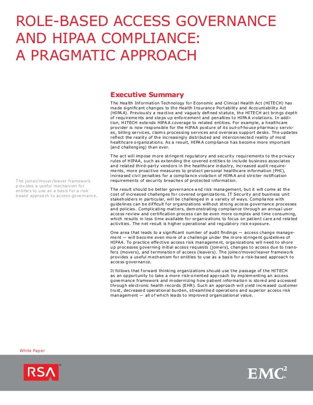 Role-Based Access Governance and HIPAA Compliance: A Pragmatic Approach