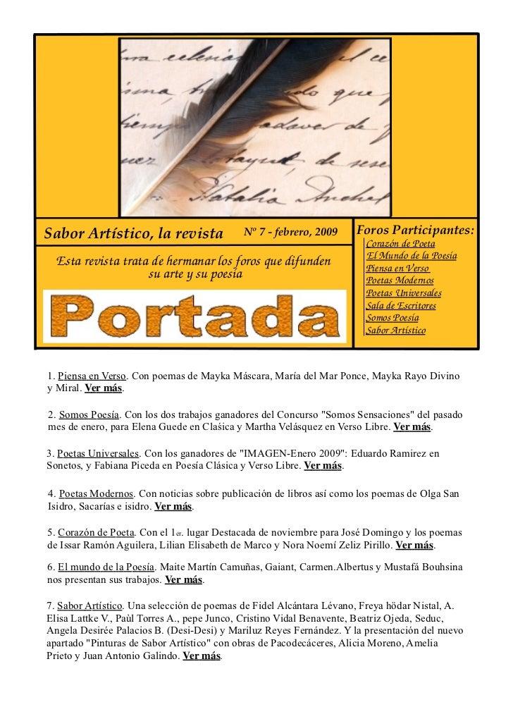 Sabor Artístico, la revista                 Nº 7 - febrero, 2009     Foros Participantes:                                 ...