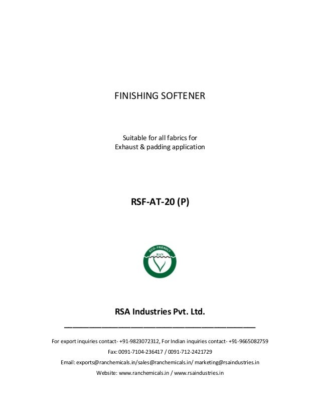 RSA Industries, India - Products - Textile - Packages for Different Substrates - Products for processing of Polyster and Cotton Knits - Finishing Softener (RSF-AT-20 (P))