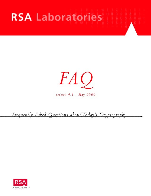 RSA Laboratories' Frequently Asked Questions About Today's Cryptography, Version 4.1