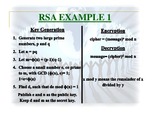 10 examples of cryptography A couple of examples are des  public key cryptography (asymmetric encryption) certificate – normally a set of keys, 1 private, 1 public digital signatures.
