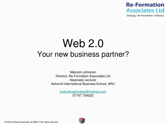 """Jisc RSC Eastern Web 2.0 Your new business partner? Apr 2010 '""""Why"""" you need to be using web 2.0 tools for marketing' Presentation"""