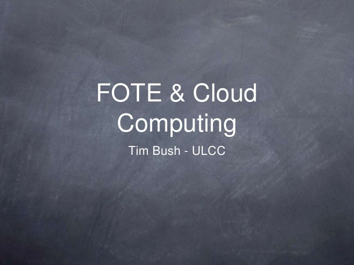 RSC/FOTE - Cloud Computing Seminar