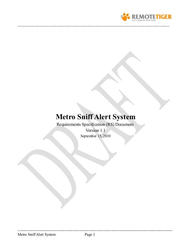 Requirement Specification Doc For MetroSniff System