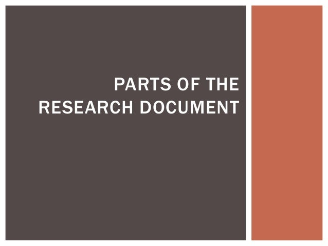 PARTS OF THE RESEARCH DOCUMENT