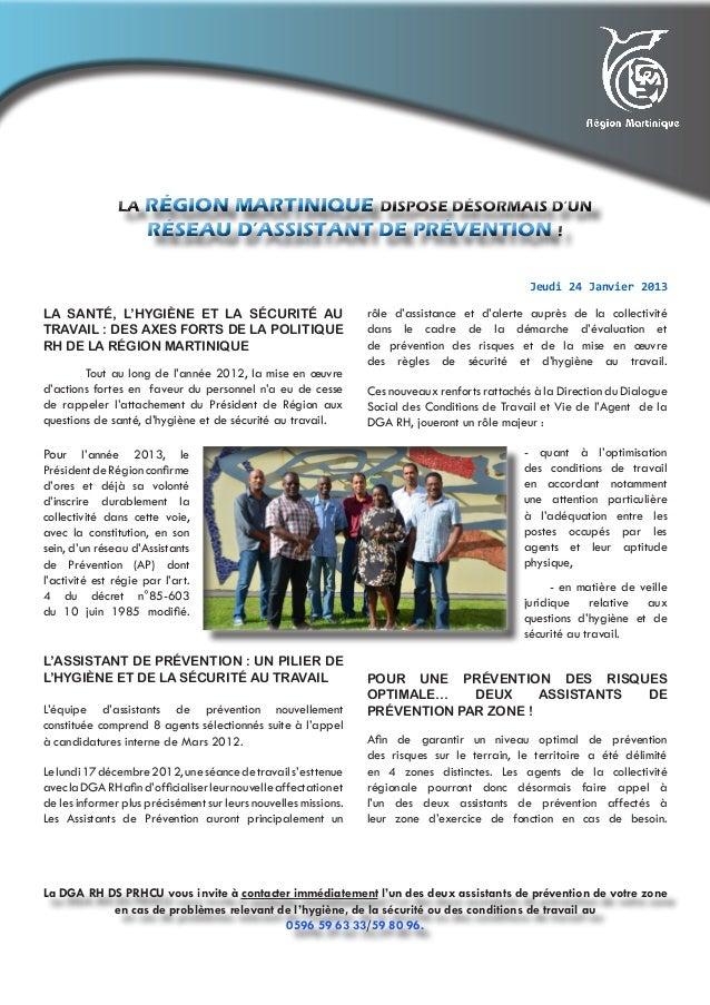 RÉGION MARTINIQUE                     RÉSEAU D'ASSISTANT DE PRÉVENTION                                                    ...