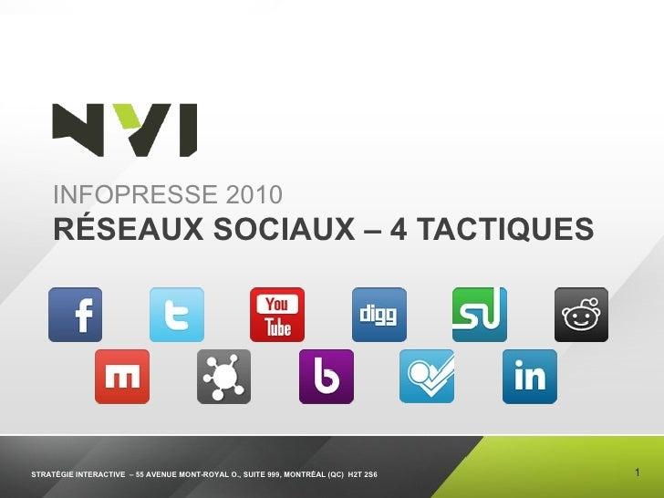 RÉSEAUX SOCIAUX – 4 TACTIQUES <ul><li>INFOPRESSE 2010 </li></ul>