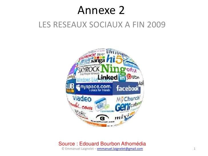 Annexe 2 LES RESEAUX SOCIAUX A FIN 2009         Source : Edouard Bourbon Athomédia      © Emmanuel Laignelet – emmanuel.la...