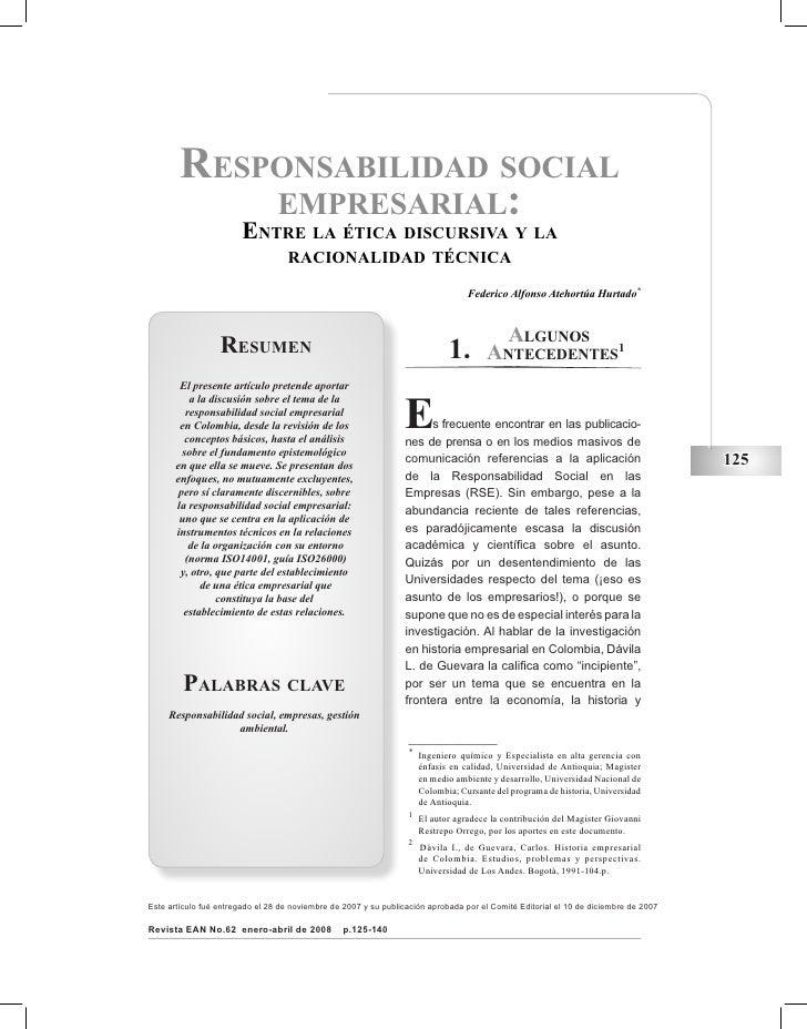 responsabilidad social            empresarial:                        Entre la ética discursiva y la                      ...