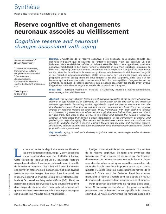 Synthe`se Re´serve cognitive et changements neuronaux associe´s au vieillissement Cognitive reserve and neuronal changes a...