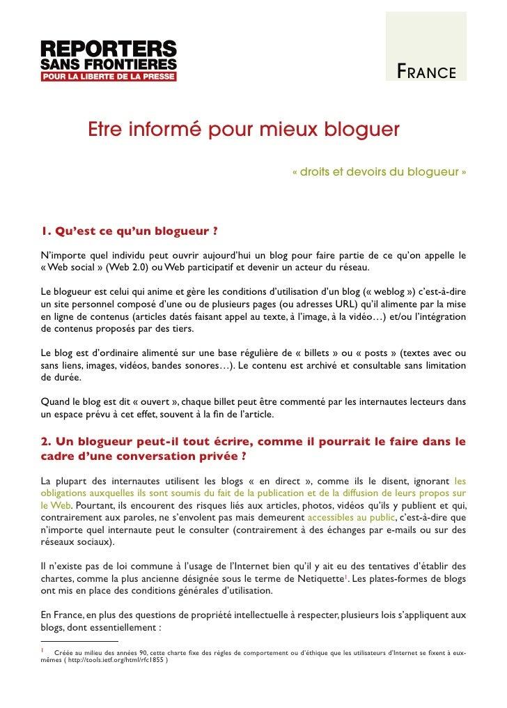 France                 Etre informé pour mieux bloguer                                                                    ...