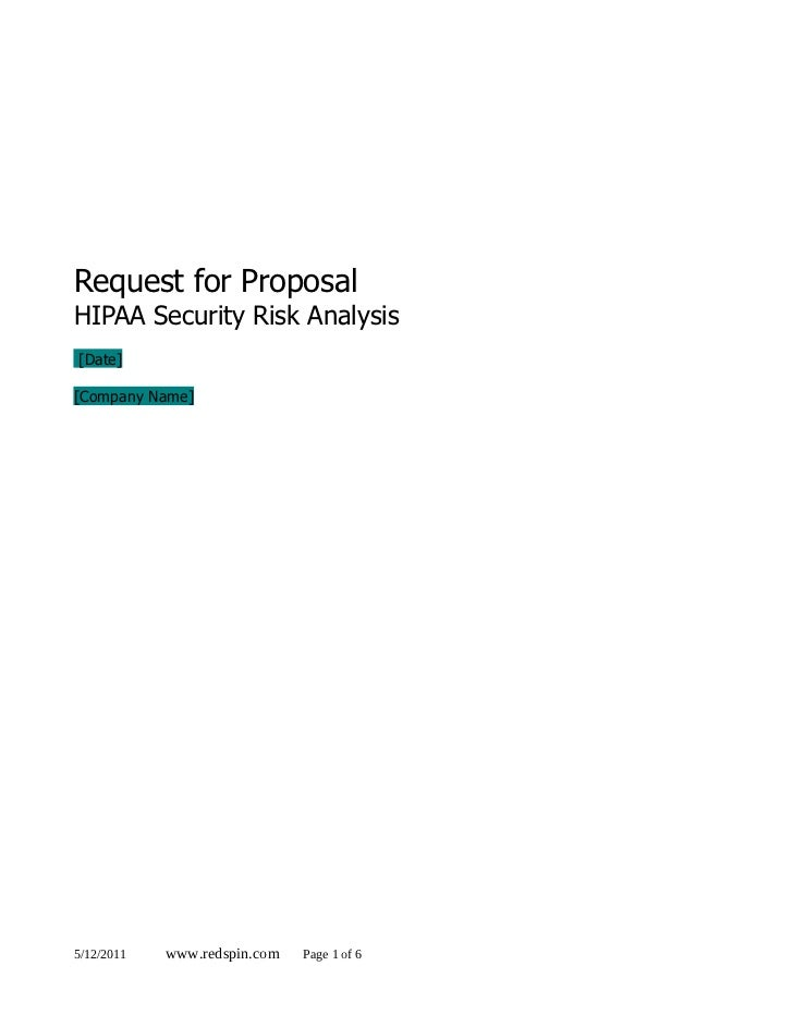 Request for ProposalHIPAA Security Risk Analysis[Date][Company Name]5/12/2011   www.redspin.com   Page 1 of 6