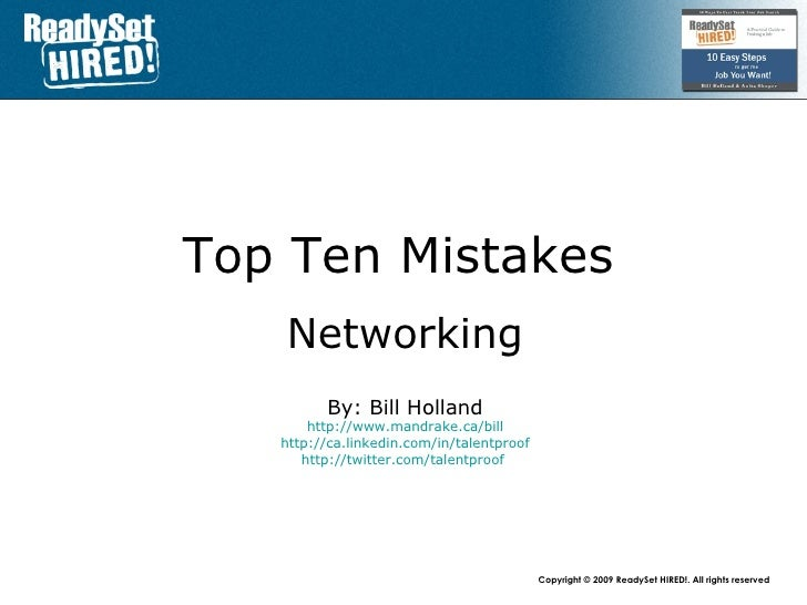 Top 10 Mistakes - #5 Networking For Jobs