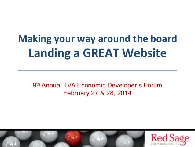 Making  your  way  around  the  board    Landing  a  GREAT  Website   9th Annual TVA Economic Develope...