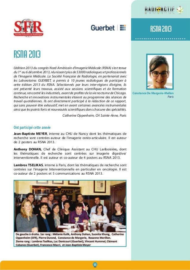 15 ......................... RSNA 2013 L'édition 2013 du congrès Nord-Américain d'Imagerie Médicale (RSNA) s'est tenue du ...