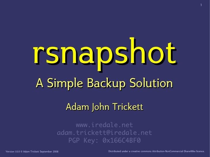 1                           rsnapshot                          A Simple Backup Solution                                   ...