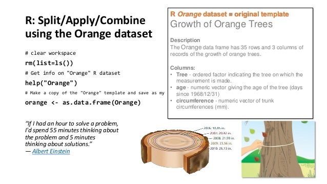 R: Split/Apply/Combine using the Orange dataset # clear workspace  rm(list=ls())  R Orange dataset = original template  Gr...