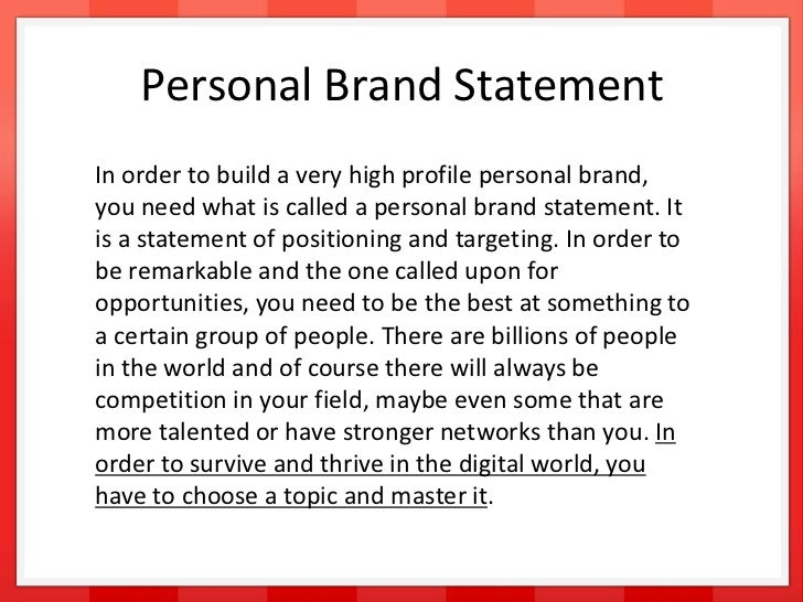 personal brand positioning statement