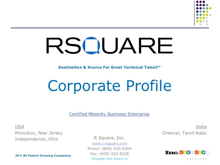 Destination & Source For Great Technical Talent™<br />Corporate Profile<br />Certified Minority Business Enterprise<br />U...