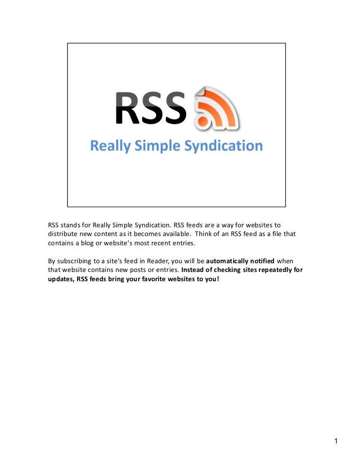 RSS & Google Reader [Handout]