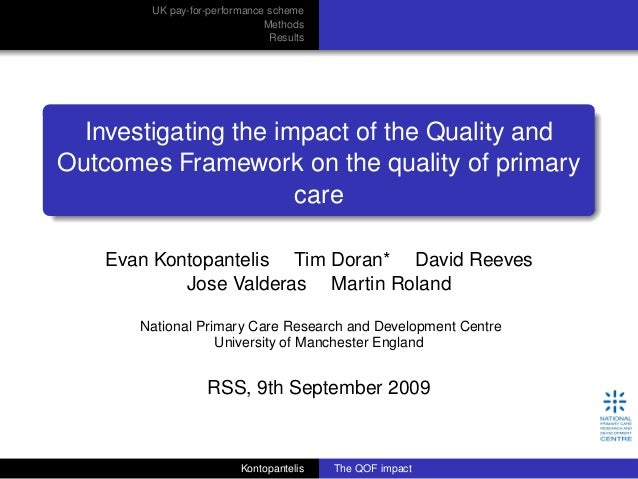 UK pay-for-performance scheme Methods Results Investigating the impact of the Quality and Outcomes Framework on the qualit...