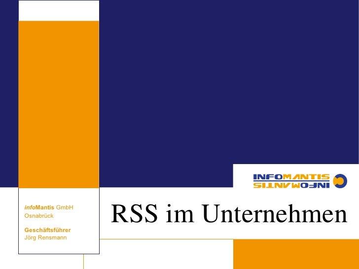 Corporate RSS Strategie - RSS im Unternehmen