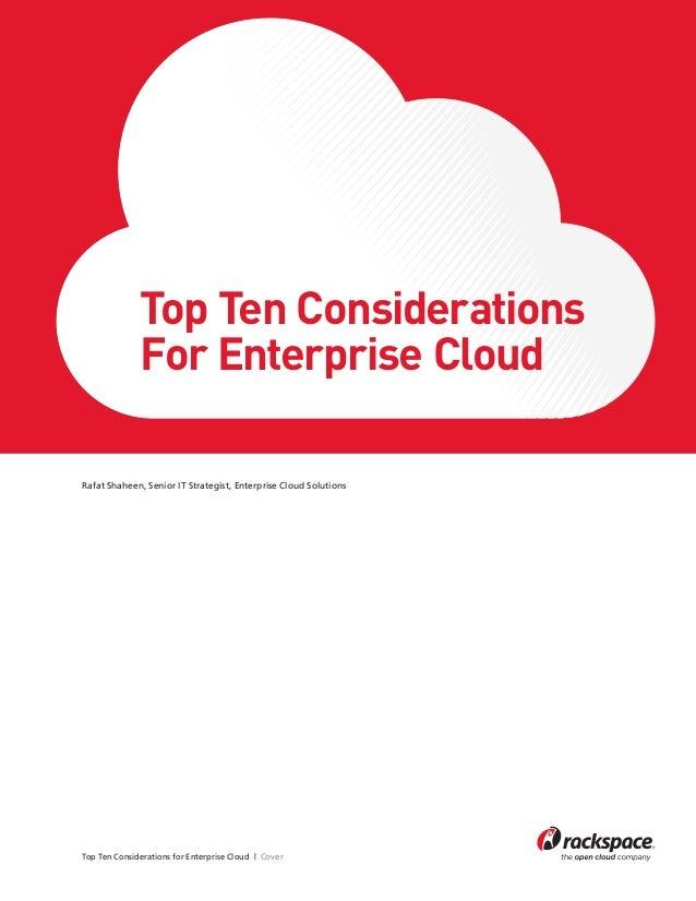 Top Ten Considerations For Enterprise Cloud