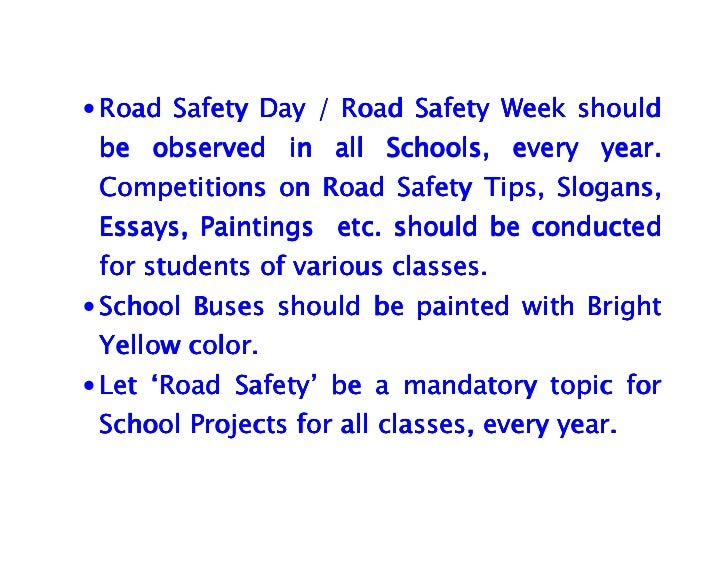 Global Road Safety Essay Competition - Transport