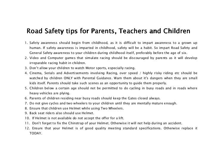 Road safety speech essay question