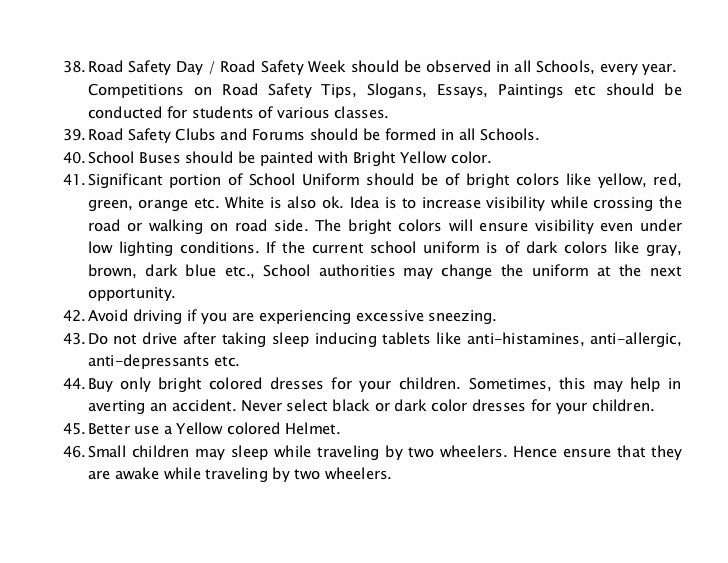 Essay writing on how to develop road safety culture