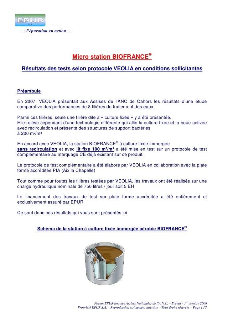 … l'épuration en action …                                  Micro station BIOFRANCE®   Résultats des tests selon protocole ...