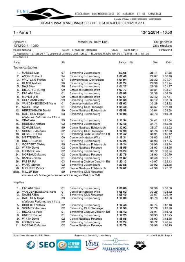 CHAMPIONNATS NATIONAUX ET CRITERIUM DES JEUNES D'HIVER 2014  1 - Partie 1 13/12/2014 - 10:00  Epreuve 1 Messieurs, 100m Do...