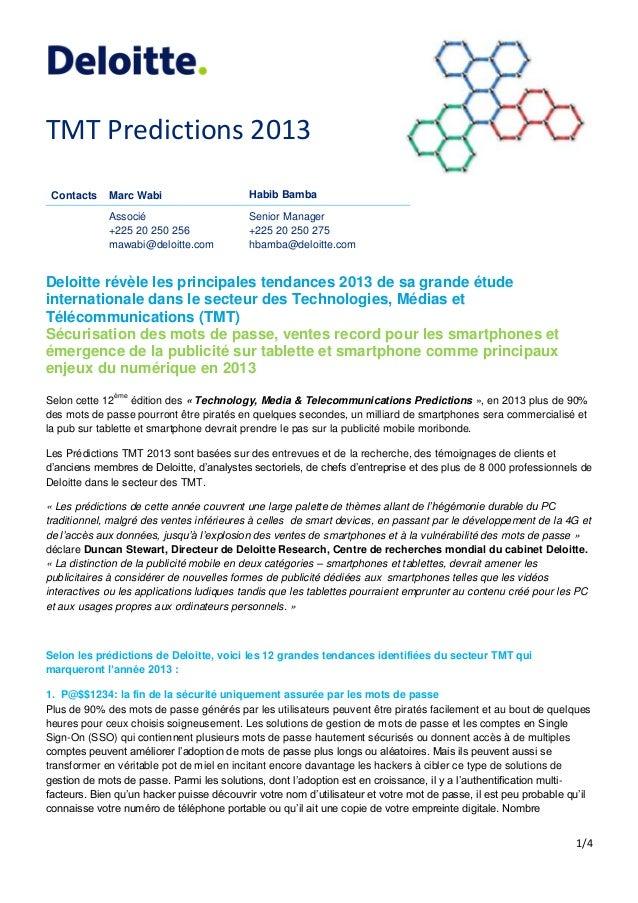 TMT Predictions 2013 Contacts    Marc Wabi                     Habib Bamba             Associé                       Senio...