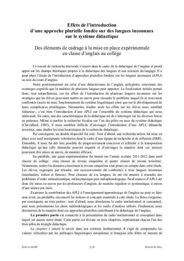 Effets de l'introduction d'une approche plurielle fondée sur des langues inconnues sur le système didactique Des éléments ...