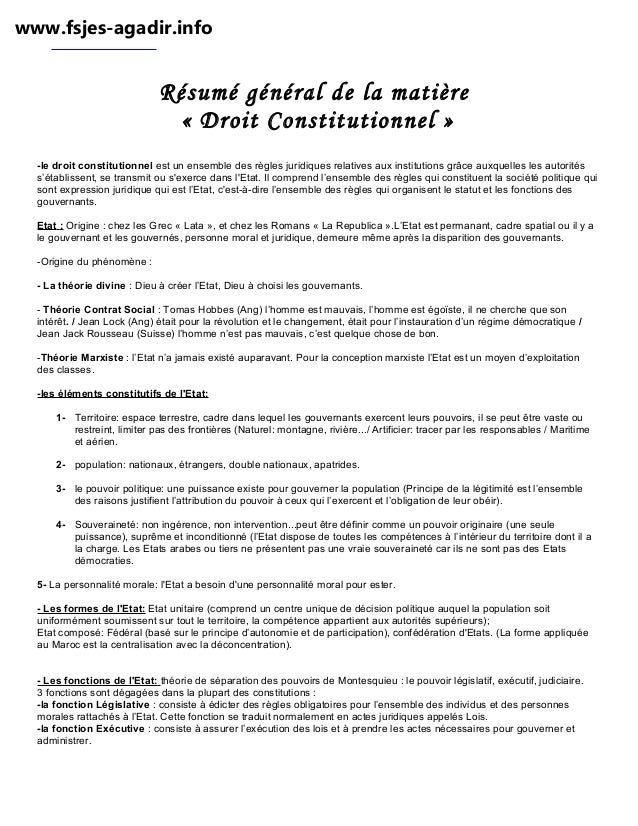 www.fsjes-agadir.info  Résumé général de la matière « Droit Constitutionnel » -le droit constitutionnel est un ensemble de...