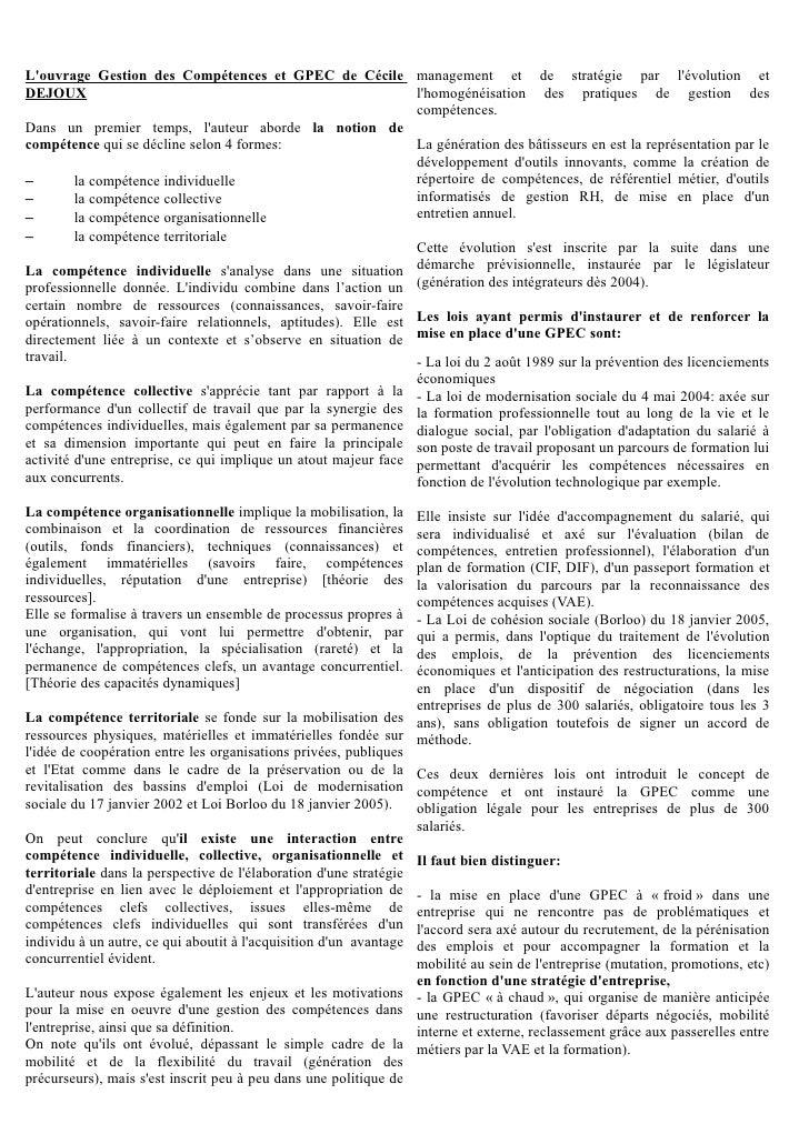 Louvrage Gestion des Compétences et GPEC de Cécile management et de stratégie par lévolution etDEJOUX                     ...