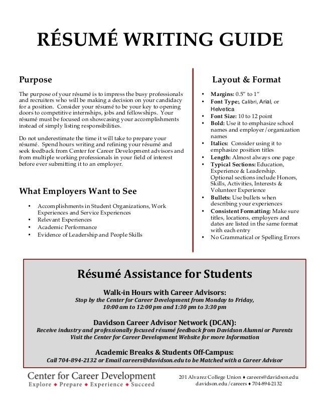 Writing A College Resume Davidson College R 233 Sum 233 Writing Guide