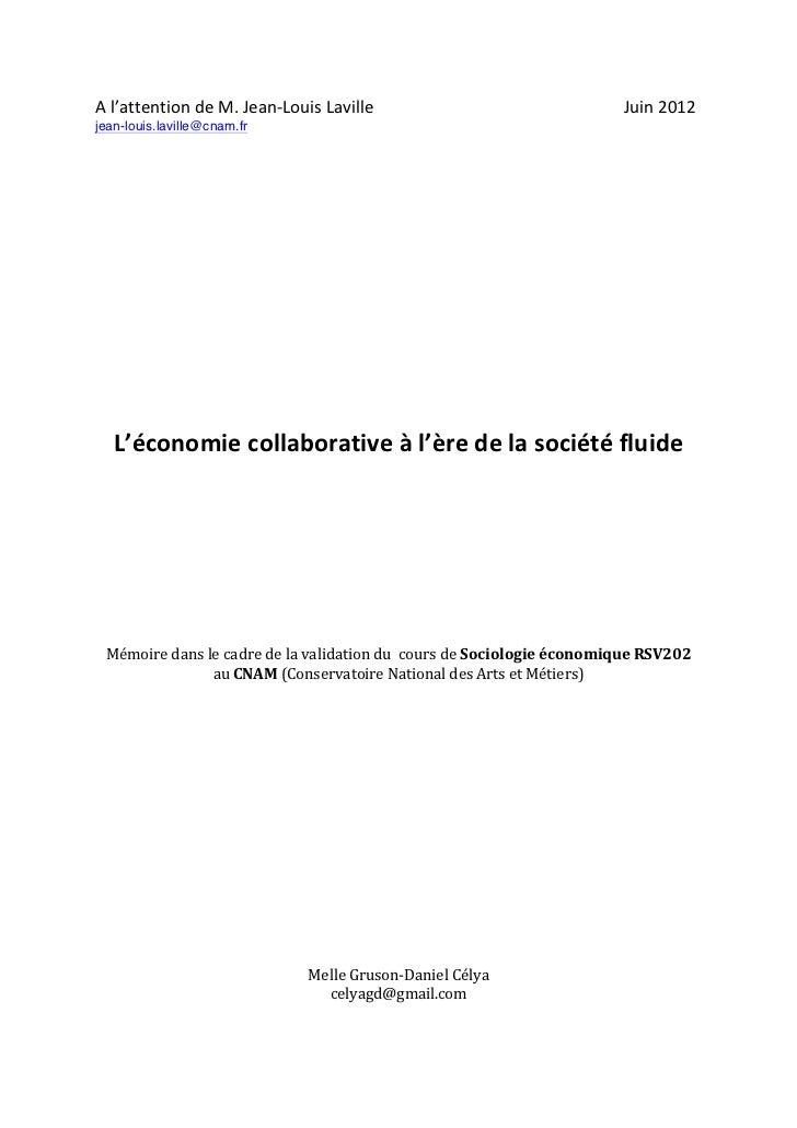 L économie collaborative à l'ère de la société fluide