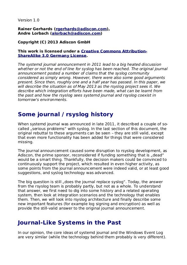 Version 1.0Rainer Gerhards (rgerhards@adiscon.com),Andre Lorbach (alorbach@adiscon.com)Copyright (C) 2013 Adiscon GmbHThis...