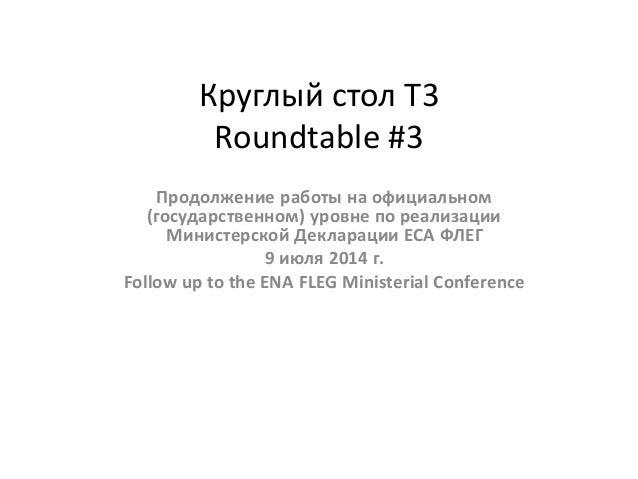 Круглый стол Т3 Roundtable #3 Продолжение работы на официальном (государственном) уровне по реализации Министерской Деклар...