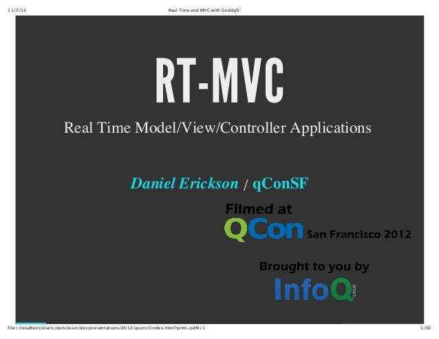 RT-MVC: Real Time Model/View/Controller Applications