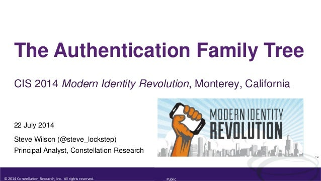 © 2014 Constellation Research, Inc. All rights reserved. Public TM The Authentication Family Tree CIS 2014 Modern Identity...
