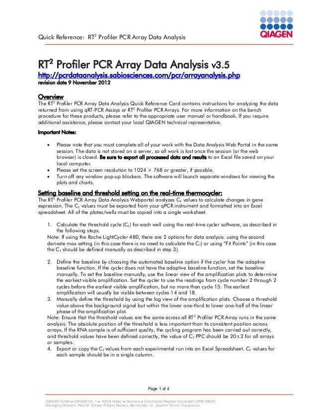 Quick Reference: RT2 Profiler PCR Array Data Analysis  RT2 Profiler PCR Array Data Analysis v3.5  http://pcrdataanalysis.s...