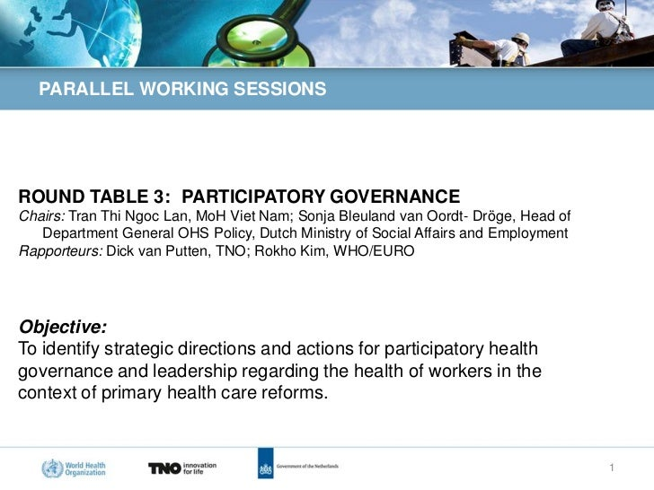 PARALLEL WORKING SESSIONSROUND TABLE 3: PARTICIPATORY GOVERNANCEChairs: Tran Thi Ngoc Lan, MoH Viet Nam; Sonja Bleuland va...